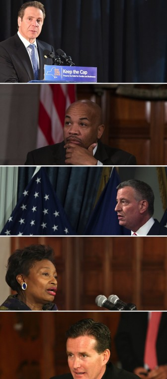 Some of the dramatis personae in the housing policy debate: Gov. Cuomo. Speaker Heastie, Mayor de Blasio, Senate Minority Leader Stewart-Cousins and Senate Majority Leader Flanagan