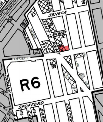 That red block on a Bronx zoning map is currently a parking lot but could become housing, according to a senior advocacy group.
