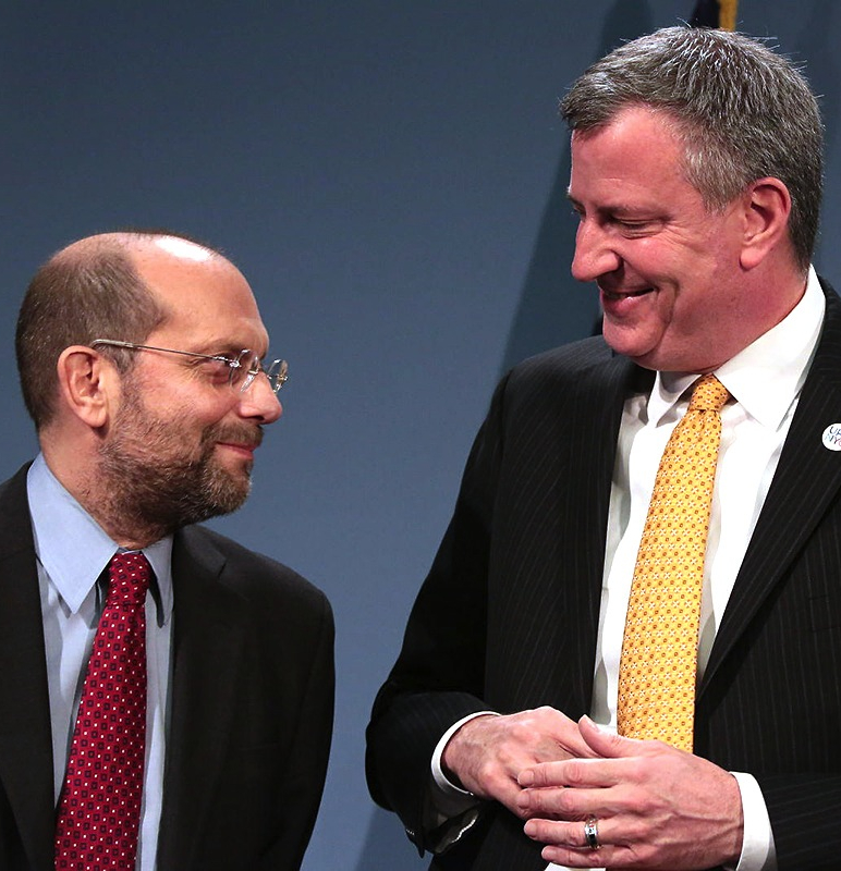 HRA Commissioner Banks and Mayor de Blasio. Banks says the city is taking a multifaceted approach to defending tenants.