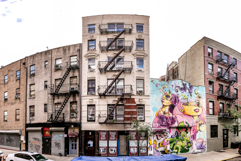 At left, 444 East 13th Street, where tenants say new owners unleashed spies and threatened deteriorating conditions in a ploy to get people to vacate. At right, a building sold in the same deal that will soon be transformed by a deal promoted by celebrity real-estate broker Ryan Serhant.