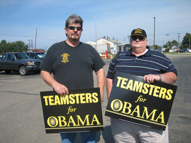 Two Pennsylvania-based Teamsters officials campaign in 2008. Unions' ability to provide ground troops to candidates magnifies their power. But recent figures showing a mere 6.6 percent of workers are unionized suggest that labor's electoral power faces new, real limits.