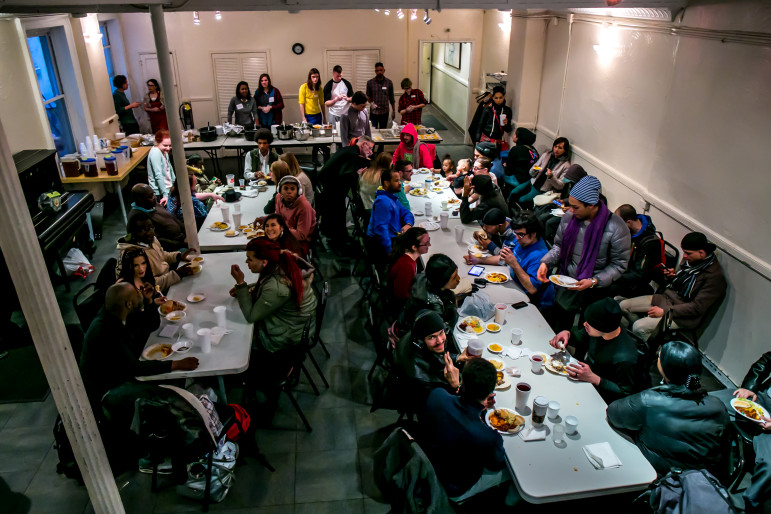 Clients at New Alternatives for LGBT Homeless Youth on Christopher Street gather for Sunday dinner in March. Street homeless are very hard to count, and young people living on the street are particularly elusive.