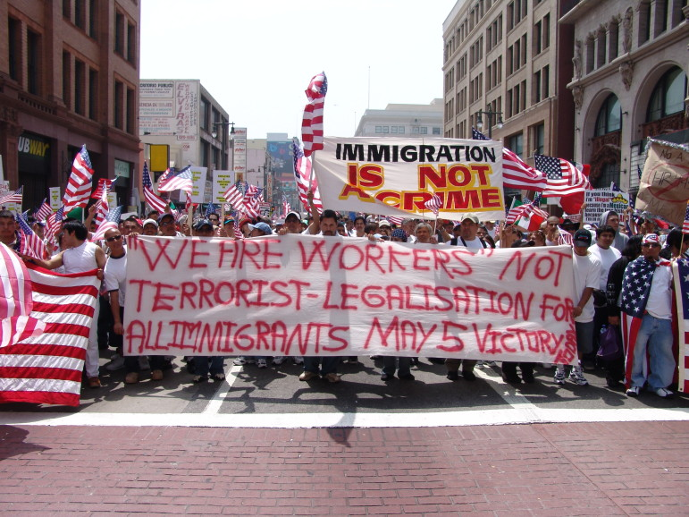 Immigrant rights march for amnesty in downtown Los Angeles, California on May Day, 2006