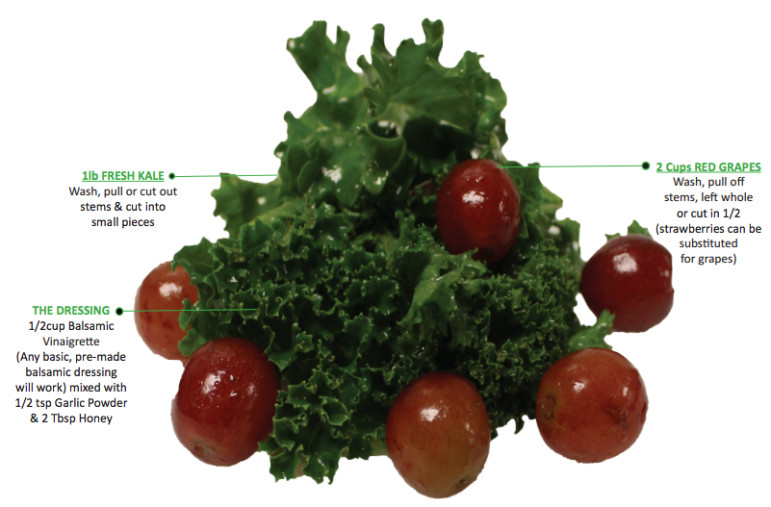 "A recipe for ""kid-friendly"" kale, a student favorite offered on the DOE's school food website."