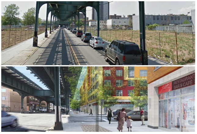 East New York now (top) and, at bottom,  the administration's vision of where it could go. Anyone want to meet at the Restaurant Bar & Cafe in 2019 or so?