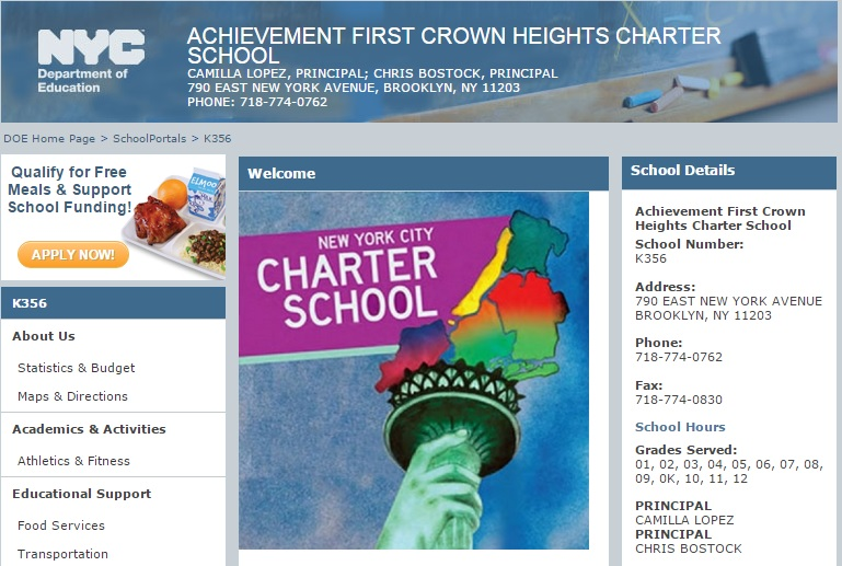 The Achievement First Crown Heights website.