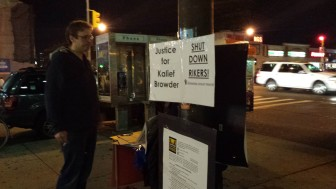 """Supporters of the """"close Rikers"""" petition gathered signatures in early November on the corner of 149th Street and Grand Concourse in the Bronx."""