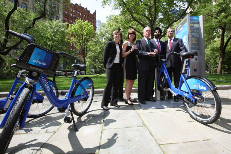 Mayor Bloomberg at an early Citi Bike promotional event. The question facing policymakers is whether investing in Citi Bike would have costs and benefits that make it favorable to pumping more money into existing transit offerings.