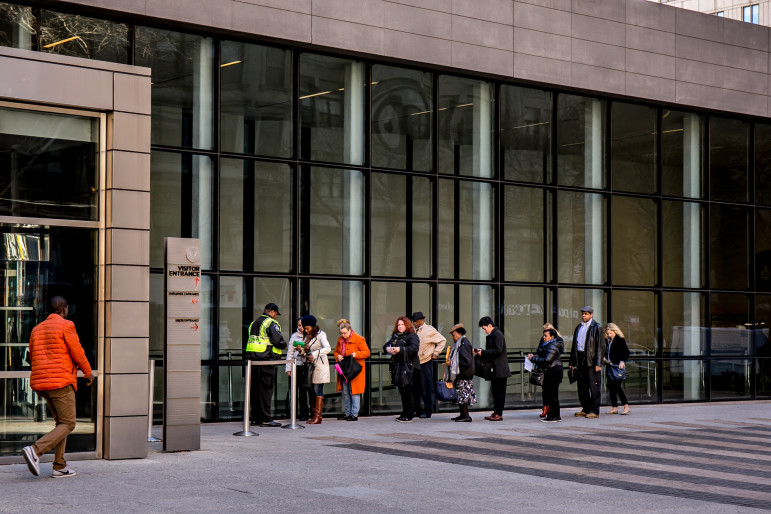 The line outside 26 Federal Plaza one morning in 2015.  it is one of two locations in the city where immigration hearings are held.