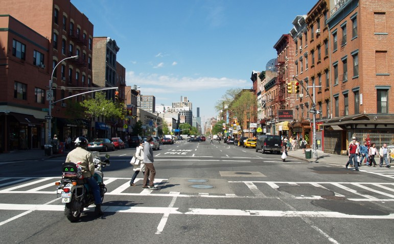 First Avenue in Manhattan. Avenues used to run two-way, which is safer for pedestrians, but were mostly made one-way, to make life easier for drivers.