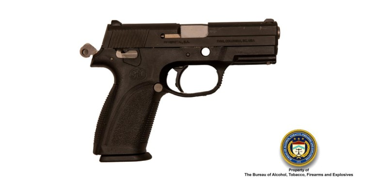 A Fabrique National 9mm. Nearly 6,000 pistols were reported lost or stolen last year.