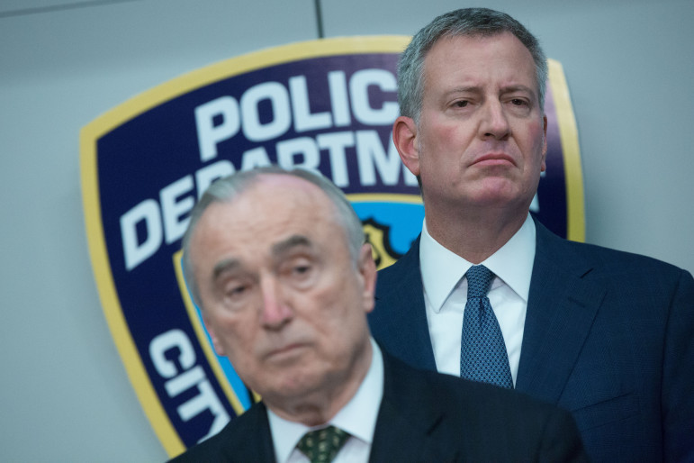 Commissioner Bratton and Mayor de Blasio at a recent press conference discussing 2015 crime numbers.