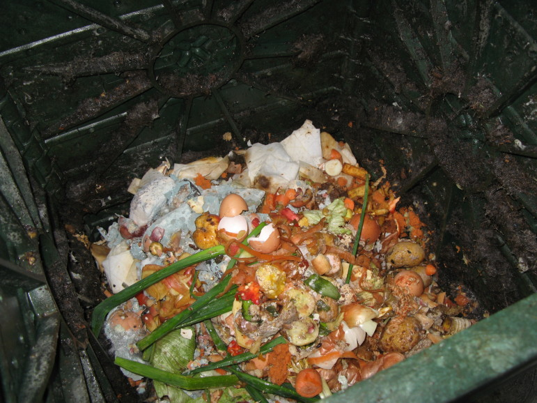 Kitchen waste newly introduced to a composter. Right now, the city's organics generation is estimated at about 6,000 tons per day