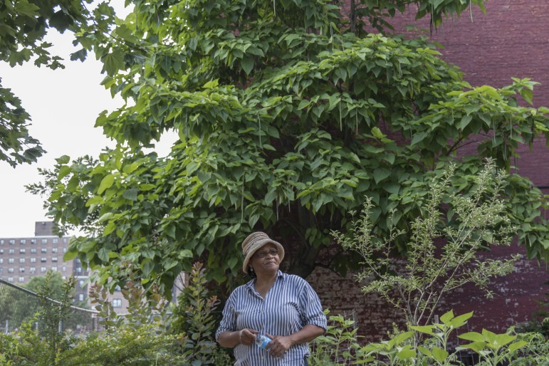 Ena McPherson in Tranquility Farm, one of the gardens being adopted by the city.