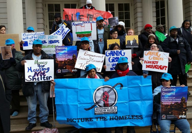 Members of Picture the Homeless at a rally last month.