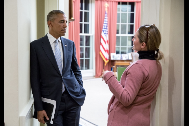 President Barack Obama talks with Senior Advisor Shailagh Murray in the Outer Oval Office earlier this month.