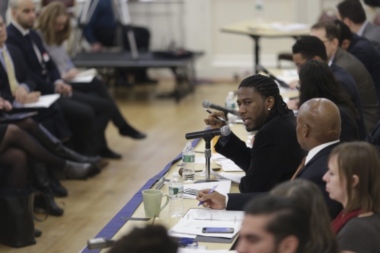 Council Member Jumaane Williams chairs the hearing in Brooklyn Borough Hall on Mitchell-Lama.