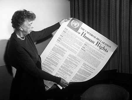 Roosevelt's crowning achievement, the 1948 Universal Declaration of Human Rights reflected a 'faith in fundamental human rights, in the dignity and worth of the human person and in the equal rights of men and women' that has yet to be realized in policy terms.