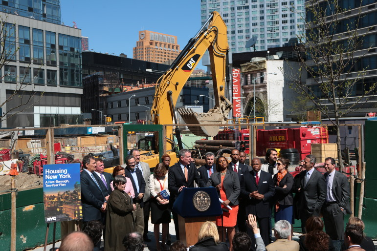 Mayor de Blasio unveils Housing New York in May 2014.