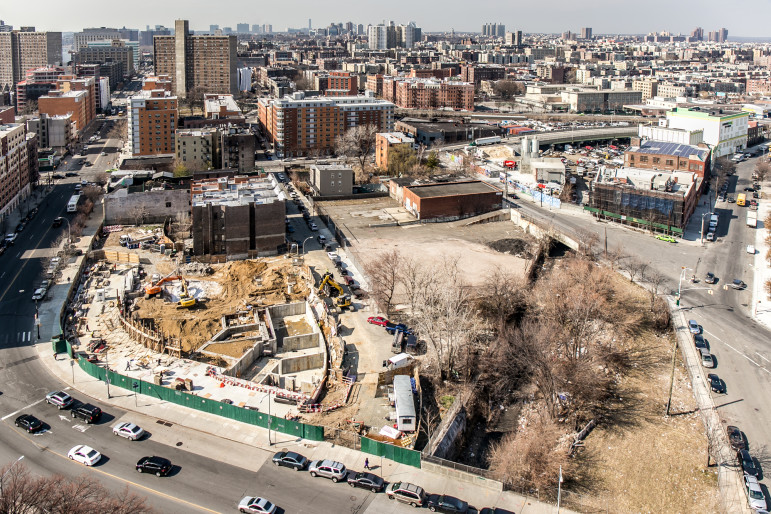 Vacant lots in the development pipeline, and not. The active construction site is next to another large space scheduled to be developed soon. Moving up the block, there are other parcels whose fate is not known.