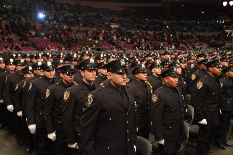 Officers at an NYPD ceremony in 2010.