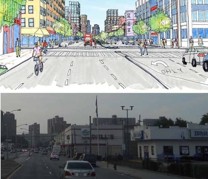 A City Planning rendering of the future East New York and a snapshot of today's Pennsylvania Avenue.