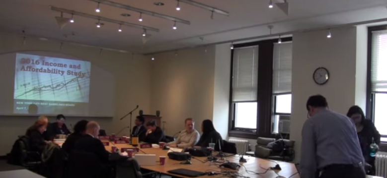The Rent Guidelines Board meeting earlier this  month. A final decision on  a rent hike or freeze will come in June.