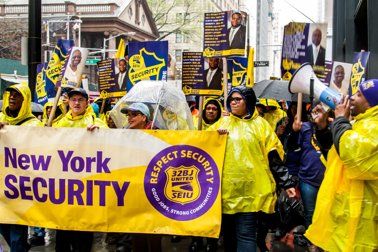 32BJ members at a rally early in the contract dispute. The union's presence in the industry is small but growing.