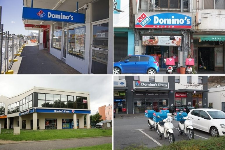 Domino's around the world (clockwise from top left): New South Wales, Australia;  Taichung, Taiwan; Wuppertal, Germany; and the suburbs of Paris
