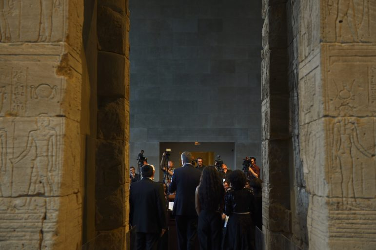 Mayor de Blasio at a 2014 reception in Reception at the Metropolitan Museum of Art's Temple of Dendur.