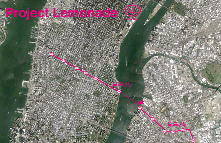 The Lemonade Line (LL) would be 'a multimodal transportation strategy that provides an all-access pass to seamlessly linked buses, bikes, car-shares, and ferry lines following the L line above ground.' width=