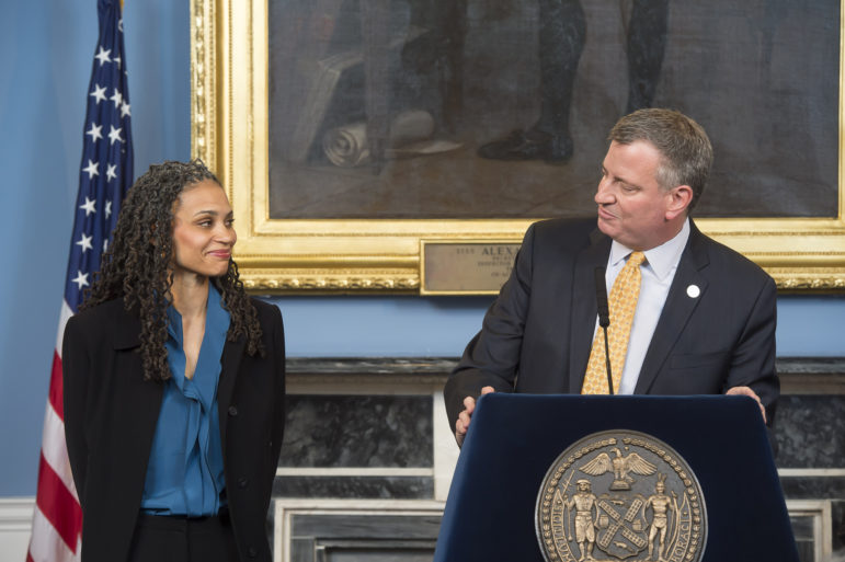 Mayor de Blasio seen in 2014 as he welcomed Maya Wiley, then his counsel and now head of the CCRB, to his administration.