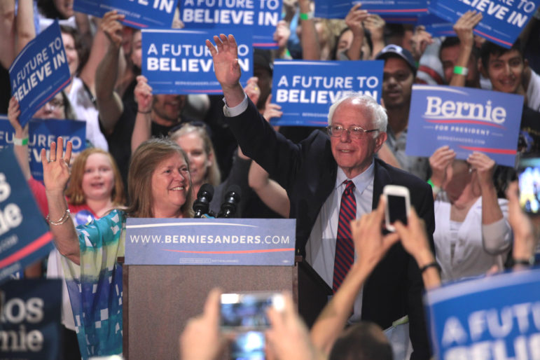 Jane and Bernie Sanders on the campaign trail.