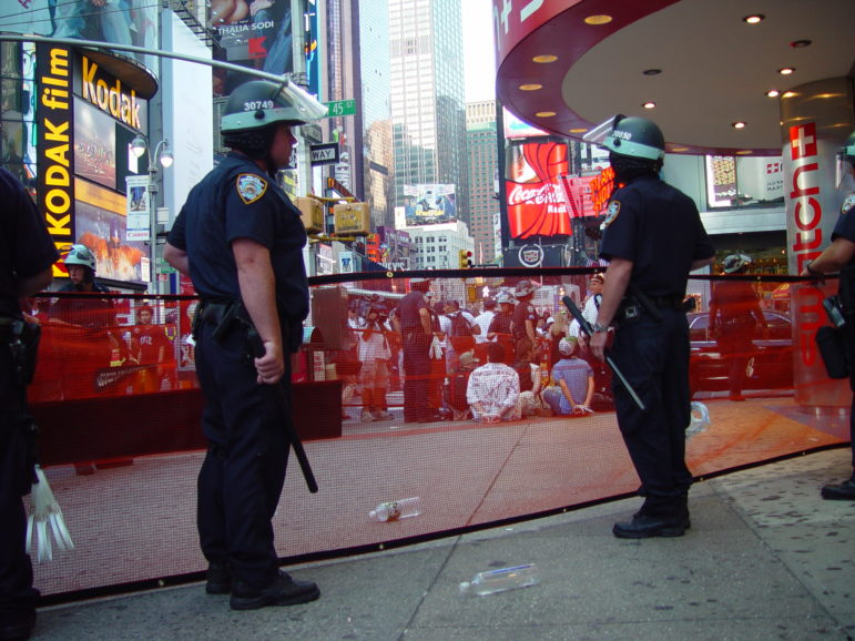 NYPD officers prepare to make arrests during the 2004 Republican National Convention.