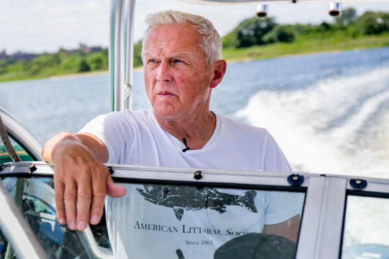 Don Riepe of the American Littoral Society navigates the Bay.