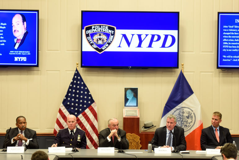 Mayor Bill de Blasio and Police Commissioner Bratton host a press conference to discuss crime statistics at One Police Plaza.