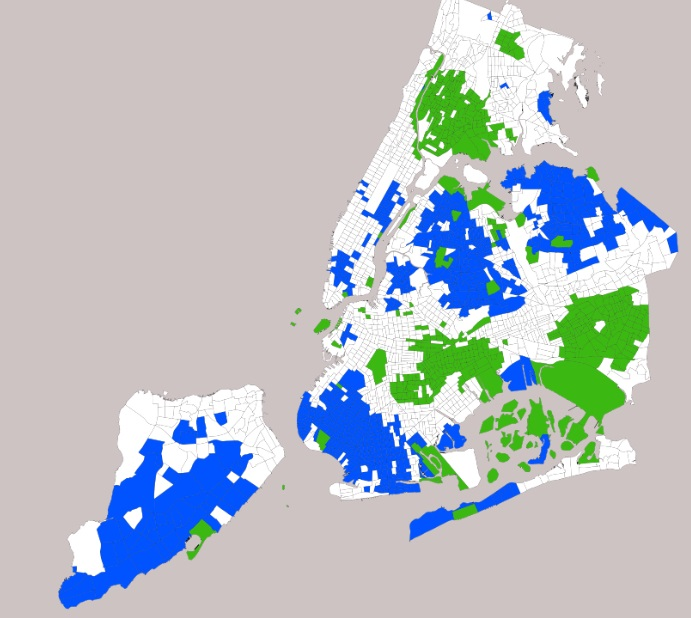 This map by scholar Daniel Kay Hertz depicts areas of the city where less than 2 percent of the population is white (green) or black (blue).