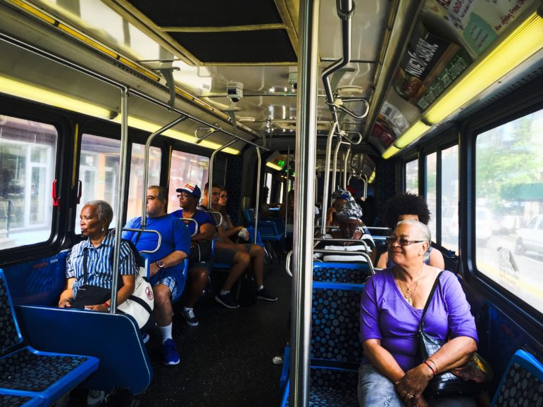 Passengers of the bus Bx19, leaving the Bronx and entering Manhattan on a Wednesday morning, Aug. 31st, 2016.