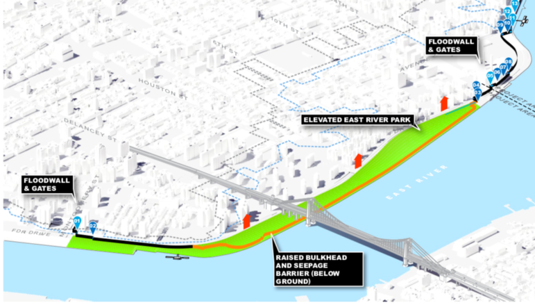 Map of the East Side Coastal Resiliency Project