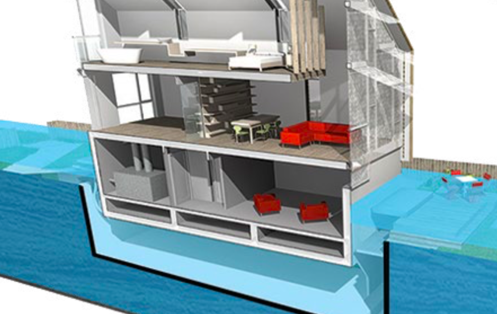 A floating home