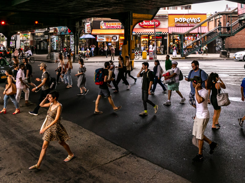 The intersection of Myrtle Avenue, Jefferson Street and Broadway