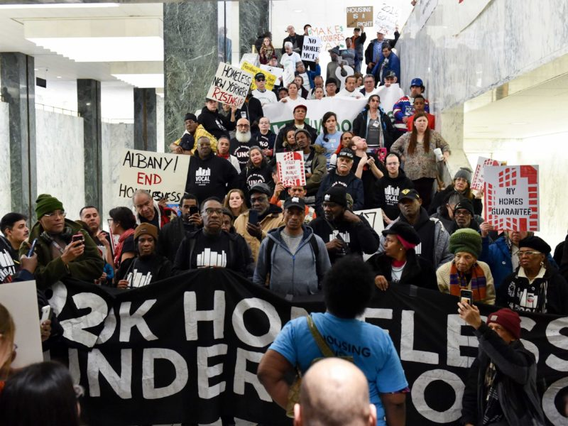 rally in Albany 2020 for homeless policy