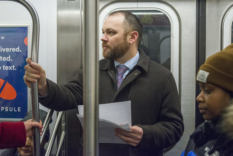 Corey Johnson on the subway